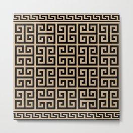 Greek Key (Tan & Black Pattern) Metal Print
