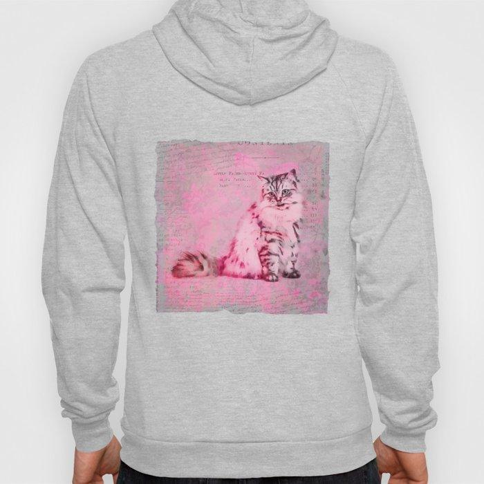 Cute Cat Pink Mixed Media Art Hoody