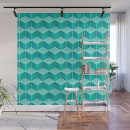 Ocean cubes, a symmetric pattern inspired by the sea. Wall Mural