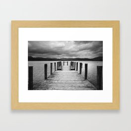 Jetty on Lake Windermere with Langdale Pikes beyond. Brockhole, Lake District, UK. Framed Art Print