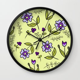 Yellow Floral-Waiting For Spring Wall Clock