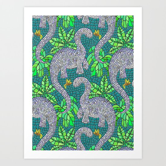Mosaic Dinosaurs and Hummingbirds Art Print