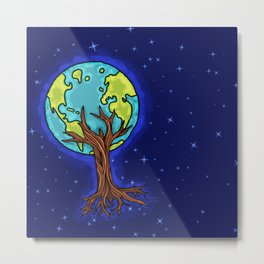 SPACE EARTH TREE Metal Print