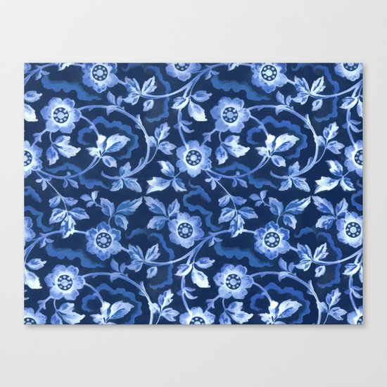 Blue floral pattern Canvas Print