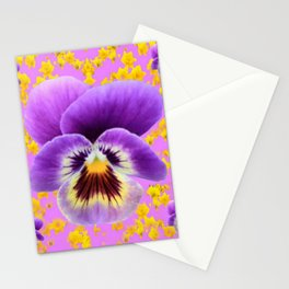 LILAC  PANSY SPRING DAFFODILS ART Stationery Cards