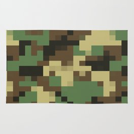 Army Camouflage Pixelated Pattern Green Brown Mountain Rug