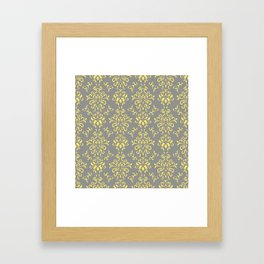 Damask Pattern in Grey and Yellow Framed Art Print