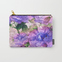 Vintage art Floral and Text Pattern Carry-All Pouch