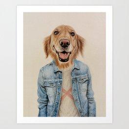 dog cowboy Art Print