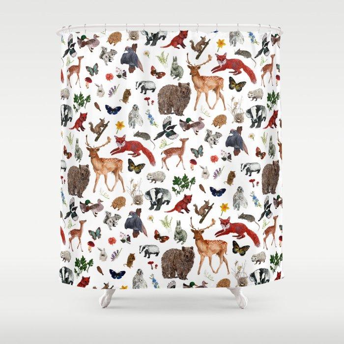 Wild Woodland Animals Shower Curtain