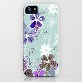 Summer blossom, blue and purple iPhone Case