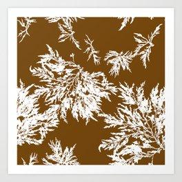 Brown Seaweed Pattern Art Print