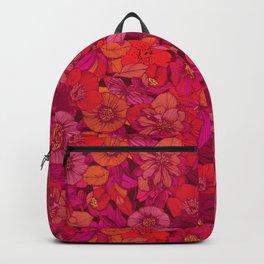 Hellebore lineart florals | red Backpack