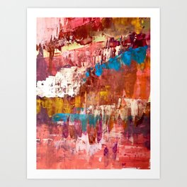 Desert Sun [5]: A bright, bold, colorful abstract piece in warm gold, red, yellow, purple and blue Art Print