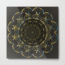 Golden mandala on a black background with blue tints Edit Metal Print
