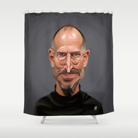 celebrity Shower Curtains featuring Celebrity Sunday ~ Steve Jobs by rob art | illustration