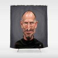 steve jobs Shower Curtains featuring Celebrity Sunday ~ Steve Jobs by rob art | illustration