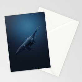 Whales family Stationery Cards