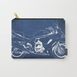 Suzuki blueprint, motorcycle drawing, whit and blue, vintage poster Carry-All Pouch