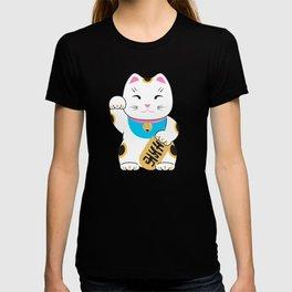 Maneki-neko good luck cat pattern T-shirt