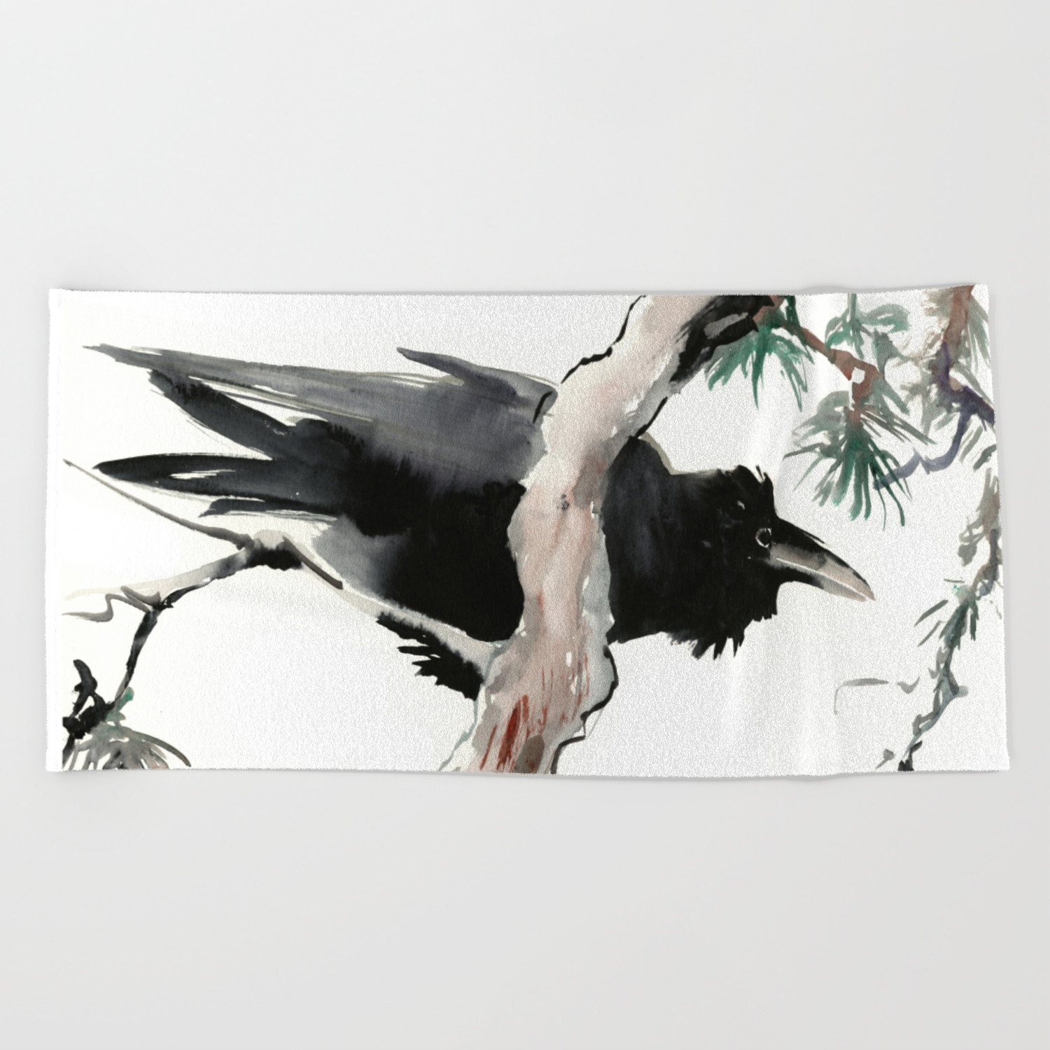 Raven Japanese Ink Art Traditional Asian Watercolor Beach Towel By Sureart Society6