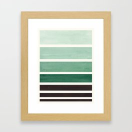 Marine Green Minimalist Mid Century Modern Color Fields Ombre Watercolor Staggered Squares Framed Art Print