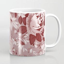 Floral Pink Roses and Flowers Coffee Mug