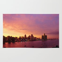 Detroit Skyline Sunset Rug