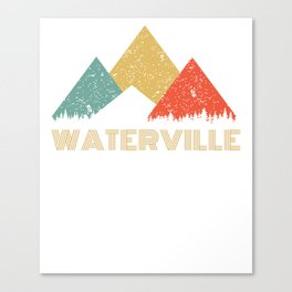 Retro City of Waterville Mountain Shirt Canvas Print