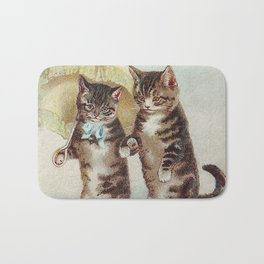 Vintage Cats Walking with Parasol Bath Mat
