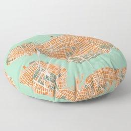 New York city map orange Floor Pillow