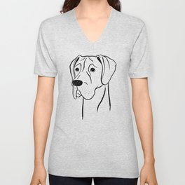 Great Dane (Black and White) Unisex V-Neck