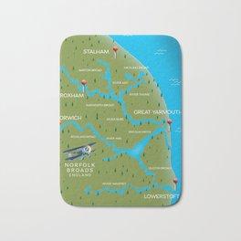 Norfolk Broads England navigation map. Bath Mat
