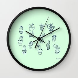 Cactus and Mint Wall Clock