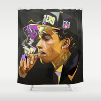 hip hop Shower Curtains featuring Hip-hop cubism by Katty Zyu
