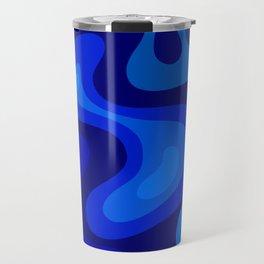 Multicolor Blue Liquid Abstract Design Travel Mug
