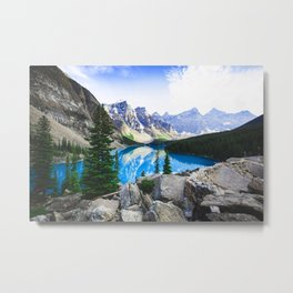 Blue Lake Rocky Mountain Pine Forest Metal Print