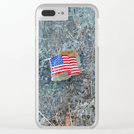 American Flag on Broken Glass Clear iPhone Case