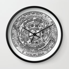 An Island Mandala - PEI, Canada - Original Colors - Black on White Wall Clock