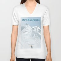 skiing V-neck T-shirts featuring New Hampshire Retro Tourism - Skiing by Eve Weiner