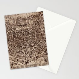 Map Of Milan 1600 Stationery Cards