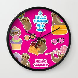 Hello Summer bright tropical patches stickers. Kawaii cute sloth collection Wall Clock