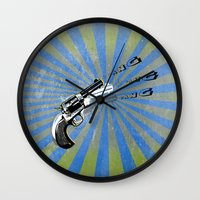guns Wall Clocks featuring guns by mark ashkenazi