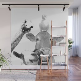Black and White Farm Animal Friends Wall Mural