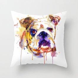English Bulldog Head Throw Pillow