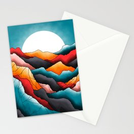 The textured mountain fields Stationery Cards