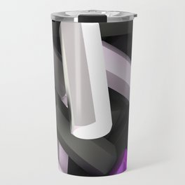 Pile of black, white and purple hexagon details Travel Mug