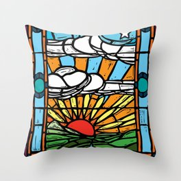 Sunrise Stained Glass Window Throw Pillow