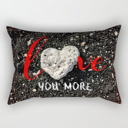 """Love You More"" Hawaii Beach with Coral Heart Photo Rectangular Pillow"