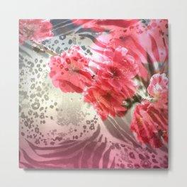 Vibrant Animal Print & Floral Collage Metal Print